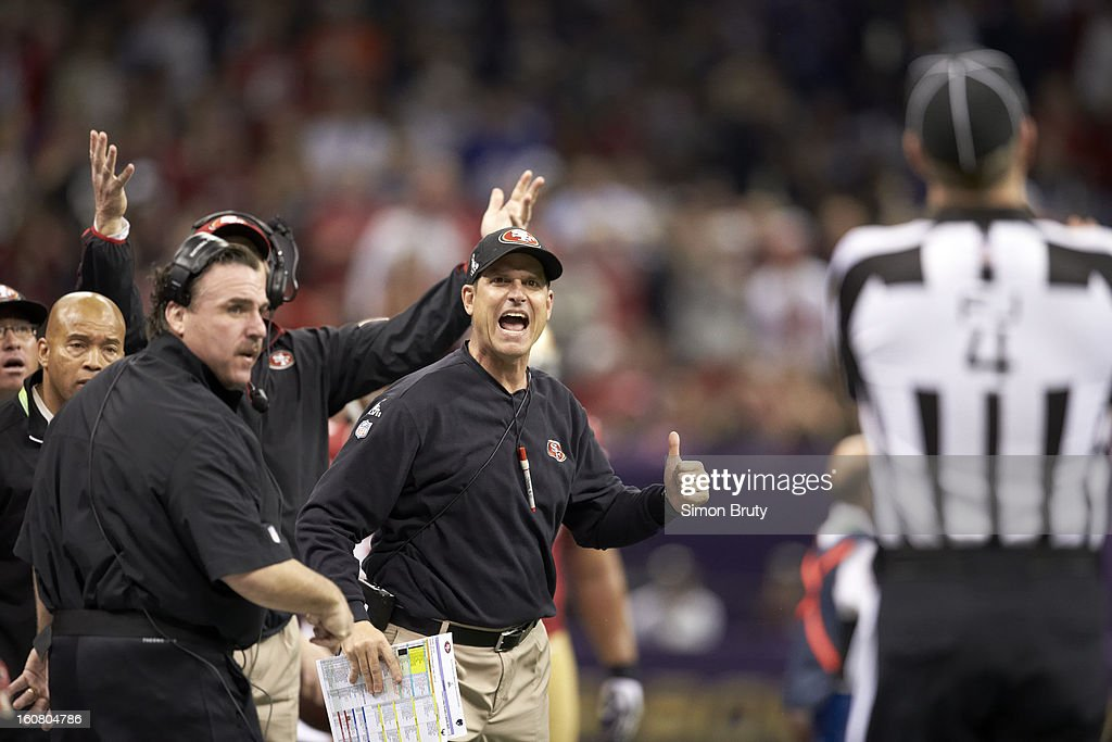 San Francisco 49ers head coach Jim Harbaugh upset on sidelines during game vs Baltimore Ravens at Mercedes-Benz Superdome. Simon Bruty F31 )