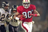 Super Bowl XXIX San Francisco 49ers Jerry Rice in action scoring touchdown vs San Diego Chargers at Joe Robbie StadiumMiami FL 1/29/1995CREDIT Bill...
