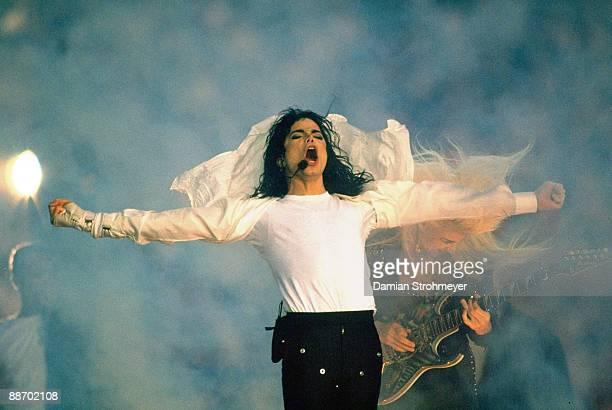 Super Bowl XXVII Celebrity musician Michael Jackson performs halftime show during Dallas Cowboys vs Buffalo Bills Pasadena CA 1/31/1993 CREDIT Damian...