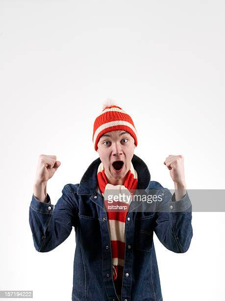 Football supporter celebrating