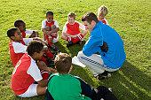 Football team listening to coach