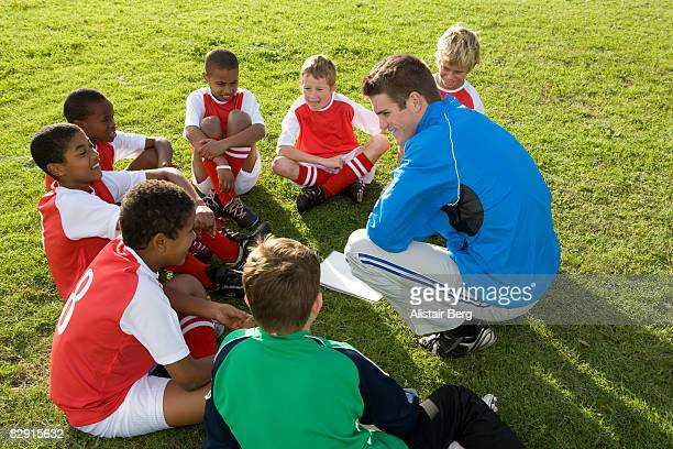 Football team listening to coach