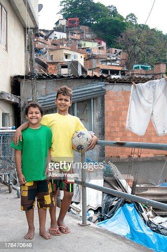 Football Team Mates in a brazilian slum, Rio de Janeiro
