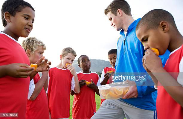 Football team with coach
