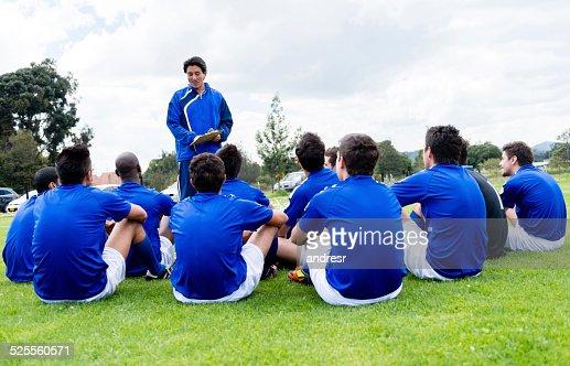 Football team with their coach