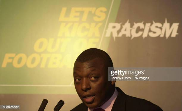Football television presenter Garth Crooks talks during a reception in support of Kick Racism Out of Football held at the Great Eastern Hotel in...