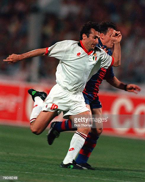 Football UEFA Champions League Final Athens Greece 18th May 1994 AC Milan 4 v Barcelona 0 AC Milan's Dejan Savicevic holds off Barcelona's Albert...