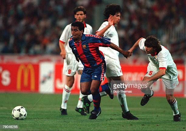 Football UEFA Champions League Final Athens Greece 18th May 1994 AC Milan 4 v Barcelona 0 Barcelona's Romario on the attack