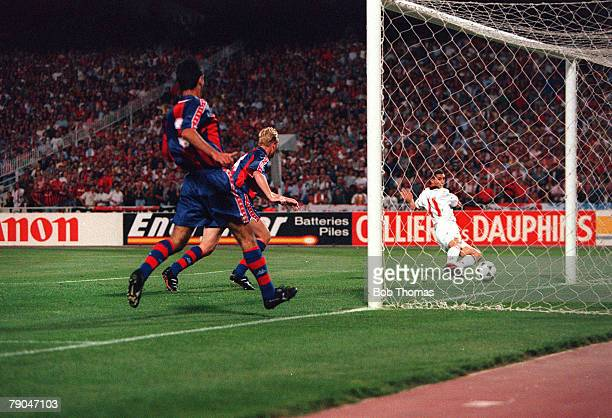 Football UEFA Champions League Final Athens Greece 18th May 1994 AC Milan 4 v Barcelona 0 AC Milan's Daniele Massaro scores the first of his two...