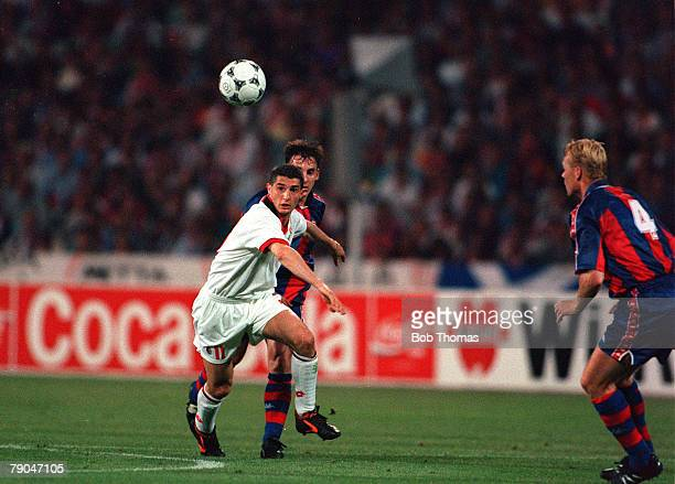 Football UEFA Champions League Final Athens Greece 18th May 1994 AC Milan 4 v Barcelona 0 AC Milan's Daniele Massaro watches the ball as he is faced...