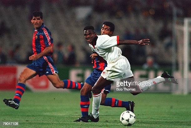 Football UEFA Champions League Final Athens Greece 18th May 1994 AC Milan 4 v Barcelona 0 AC Milan's Marcel Desailly holds off Barcelona's Romario
