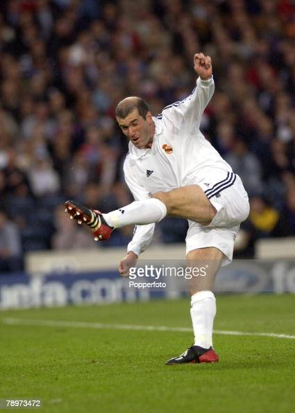 Football UEFA Champions League Final Hampden Park Glasgow 15th May 2002 Real Madrid 2 v Bayer Leverkusen 1 Real Madrid's Zinedine Zidane scores the...