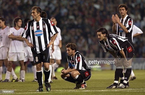 Football UEFA Champions League Final Manchester England 28th May 2003 Juventus 0 v AC Milan 0 Milan won 3 2 on penalties Juventus players Antonio...