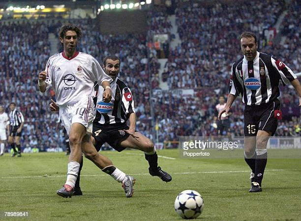 Football UEFA Champions League Final Manchester England 28th May 2003 Juventus 0 v AC Milan 0 Milan won 3 2 on penalties AC Milan's Rui Costa watched...