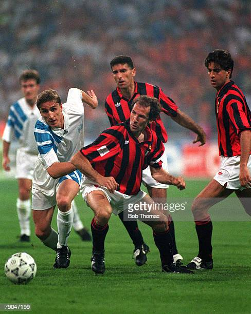 Football UEFA Champions League Final Munich Germany 26th May 1993 Marseille 1 v AC Milan 0 Marseille's Alen Boksic and AC Milan's Franco Baresi...