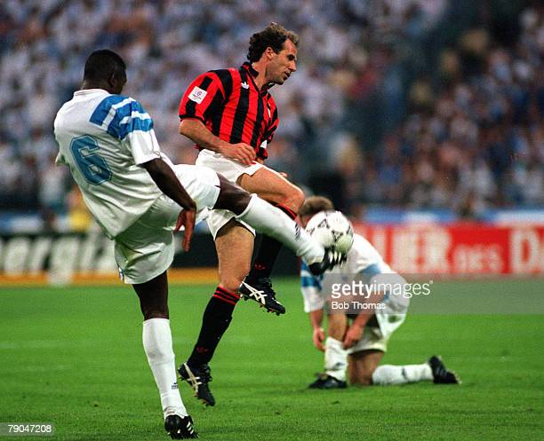 Football UEFA Champions League Final Munich Germany 26th May 1993 Marseille 1 v AC Milan 0 Marseille's Basile Boli clears the ball despite pressure...
