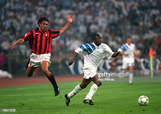 Football UEFA Champions League Final Munich Germany 26th May 1993 Marseille 1 v AC Milan 0 Marseille's Abedi Pele beats AC Milan's Paolo Maldini