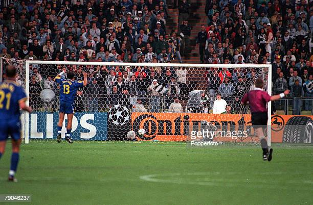 Football UEFA Champions League Final Munich Germany 28th May 1997 Borussia Dortmund 3 v Juventus 1 The ball hits the back of the net as Borussia...