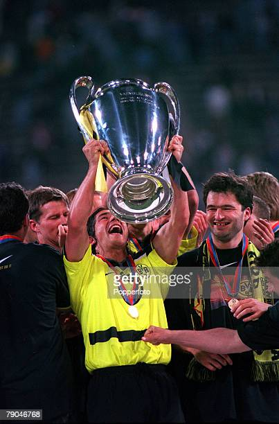 Football UEFA Champions League Final Munich Germany 28th May 1997 Borussia Dortmund 3 v Juventus 1 Borussia Dortmund's Paulo Sousa lifts the trophy...