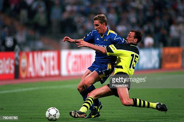 Football UEFA Champions League Final Munich Germany 28th May 1997 Borussia Dortmund 3 v Juventus 1 Alen Boksic of Juventus comes under pressure from...