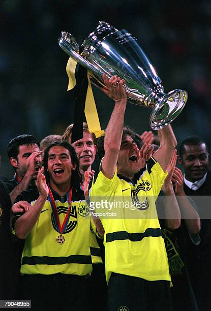 Football UEFA Champions League Final Munich Germany 28th May 1997 Borussia Dortmund 3 v Juventus 1 Borussia Dortmund's Karlheintz Riedle who scored...
