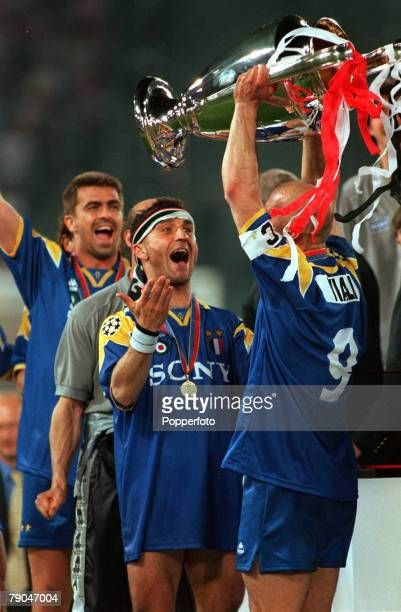 Football UEFA Champions League Final Rome Italy 22nd May 1996 Juventus 1 v Ajax 1 Juventus captain Gianluca Vialli holds the trophy aloft as teammate...