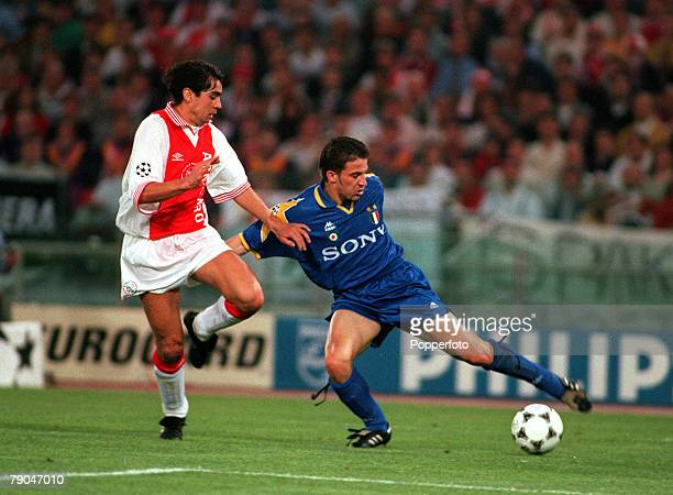 Football UEFA Champions League Final Rome Italy 22nd May 1996 Juventus 1 v Ajax 1 Alessandro Del Piero of Juventus is challenged by Ajax's Sonny...