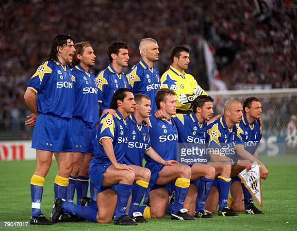 Football UEFA Champions League Final Rome Italy 22nd May 1996 Juventus 1 v Ajax 1 The Juventus team pose together for a group photograph prior to the...
