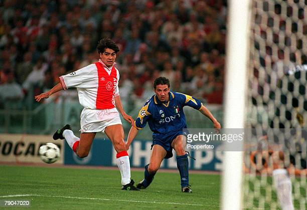 Football UEFA Champions League Final Rome Italy 22nd May 1996 Juventus 1 v Ajax 1 Alessandro Del Piero of Juventus crosses the ball past Ajax's Sonny...