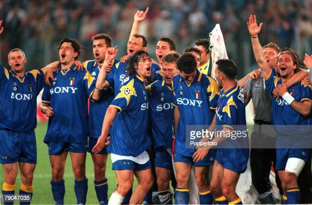 Football UEFA Champions League Final Rome Italy 22nd May 1996 Juventus 1 v Ajax 1 Members of the Juventus team celebrate after their victory