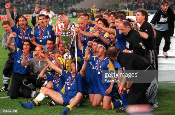 Football UEFA Champions League Final Rome Italy 22nd May 1996 Juventus 1 v Ajax 1 The Juventus team and officials celebrate with the trophy