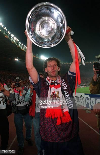 Football UEFA Champions League Final Vienna Austria 24th May 1995 Ajax 1 v AC Milan 0 Ajax captain Danny Blind holds the trophy aloft