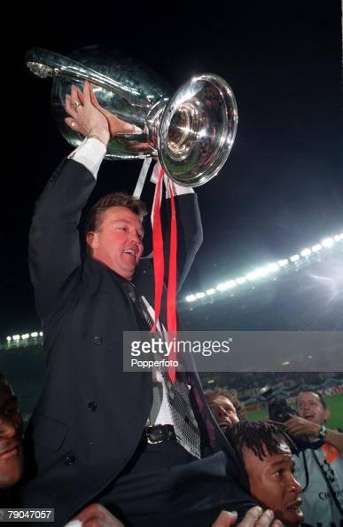 Football UEFA Champions League Final Vienna Austria 24th May 1995 Ajax 1 v AC Milan 0 Ajax coach Louis van Gaal holds the trophy aloft
