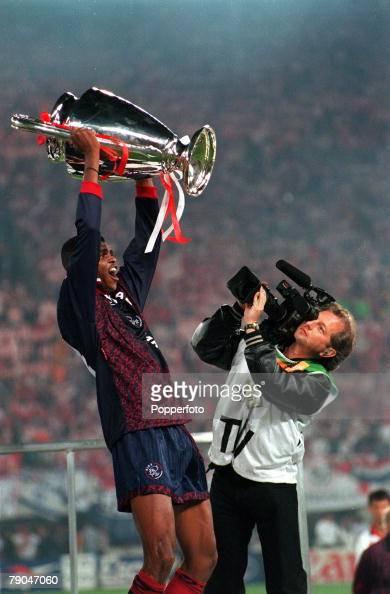 Football UEFA Champions League Final Vienna Austria 24th May 1995 Ajax 1 v AC Milan 0 Nwankwo Kanu of Ajax holds the trophy aloft as he celebrates...