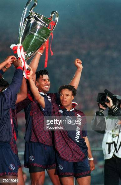 Football UEFA Champions League Final Vienna Austria 24th May 1995 Ajax 1 v AC Milan 0 Frank Rijkaard and teammate Edgar Davids hold the trophy aloft...