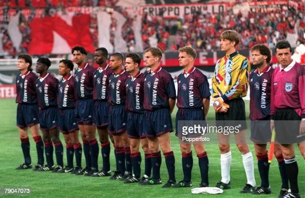 Football UEFA Champions League Final Vienna Austria 24th May 1995 Ajax 1 v AC Milan 0 The Ajax team line up together prior to the match LR Jari...
