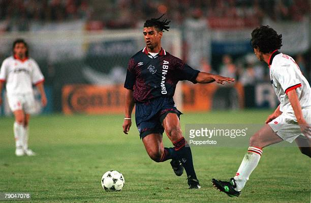 Football UEFA Champions League Final Vienna Austria 24th May 1995 Ajax 1 v AC Milan 0 Frank Rijkaard of Ajax is watched by AC Milan's Demetrio...