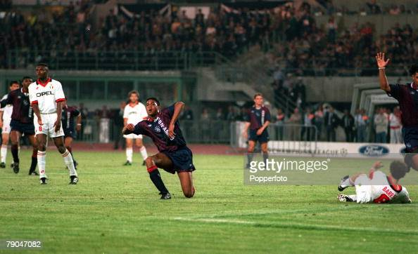 Football UEFA Champions League Final Vienna Austria 24th May 1995 Ajax 1 v AC Milan 0 Patrick Kluivert of Ajax is about to celebrate after scoring...