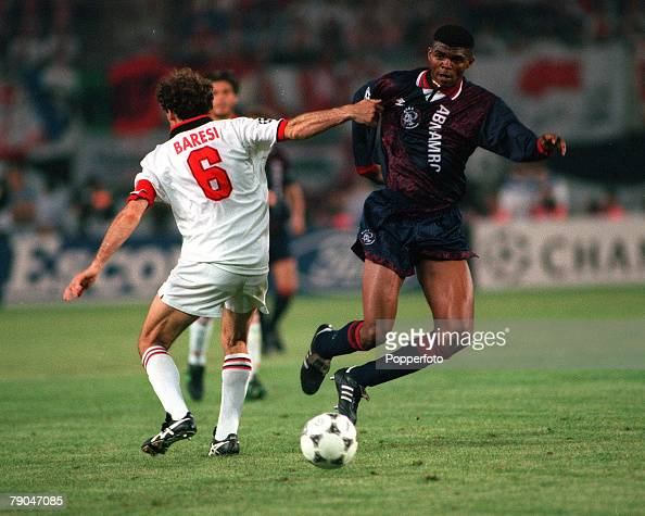 Football UEFA Champions League Final Vienna Austria 24th May 1995 Ajax 1 v AC Milan 0 Nwankwo Kanu of Ajax takes the ball past AC Milan captain...