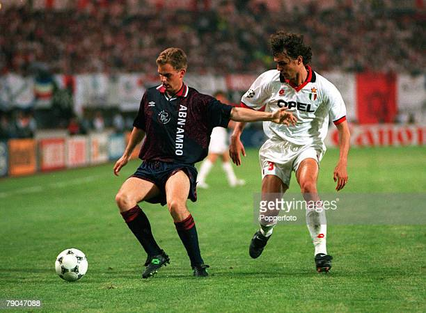 Football UEFA Champions League Final Vienna Austria 24th May 1995 Ajax 1 v AC Milan 0 Ronald de Boer of Ajax is watched closely by AC Milan's Paolo...