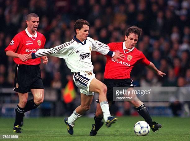 Football UEFA Champions League Quarterfinal 1st Leg 4th April 2000 Madrid Spain Real Madrid 0 v Manchester United 0 Real Madrid's Savio and...