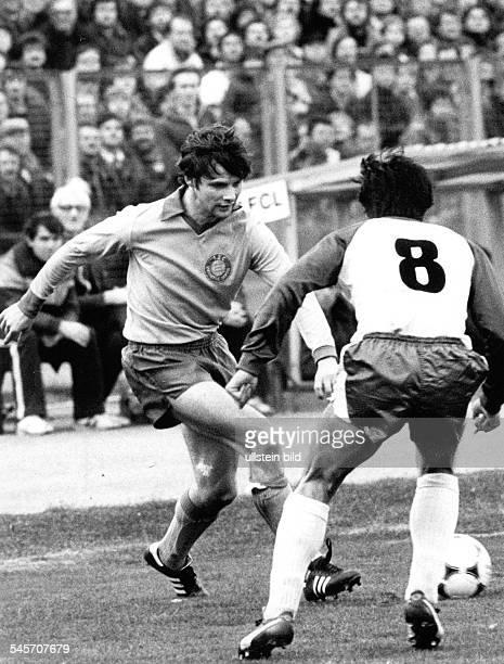 Football Uefa Cup 2nd round 1st leg Lokomotive Leipzig vs Werder Bremen 10 scene of the match Andreas Treske and Yasuhiko Okudera October 19 1983