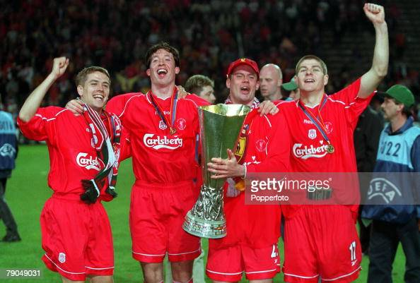 Football UEFA Cup Final 16th May 2001 Dortmund Germany Liverpool 5 v Deportivo Alaves 4 Liverpool quartet LR Michael Owen Robbie Fowler Jamie...