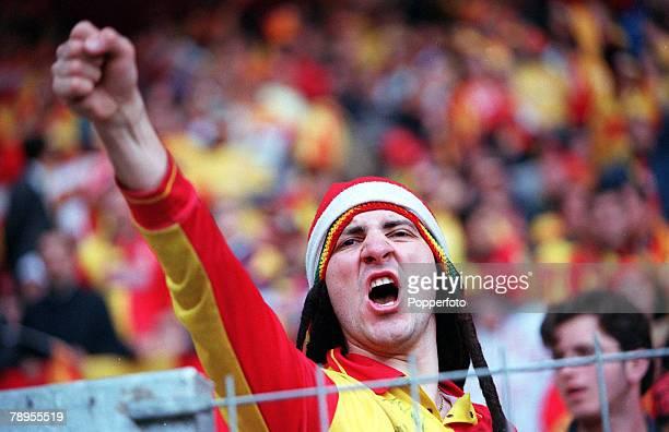 Football UEFA Cup Final 17th May Copenhagen Denmark Galatasaray bt Arsenal 41 on penalties Turkish fan supporting Galatasaray makes an aggressive...