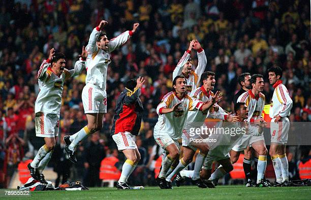 Football UEFA Cup Final 17th May Copenhagen Denmark Galatasaray bt Arsenal 41 on penalties Galatasaray celebrate victory as Popescu has scored the...