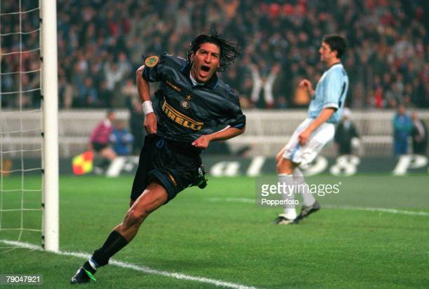 Football UEFA Cup Final Paris France 6th May 1998 Inter Milan 3 v Lazio 0 Inter Milan's Ivan Zamorano runs away to celebrate after scoring the first...
