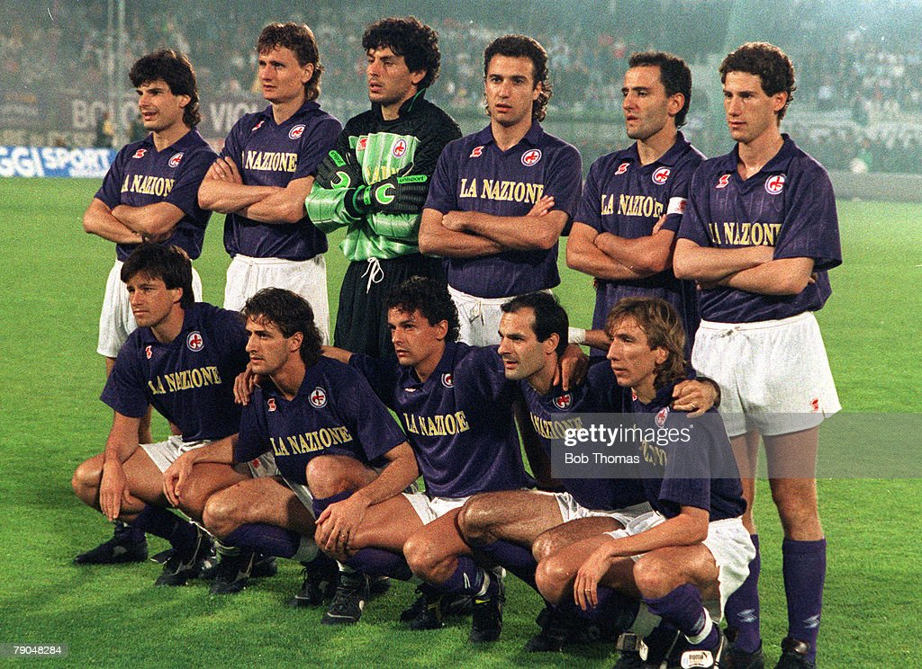 Football UEFA Cup Final Second Leg Florence Italy 16th May 1990 Fiorentina 0 v Juventus 0 The Fiorentina team pose together for a group photograph...