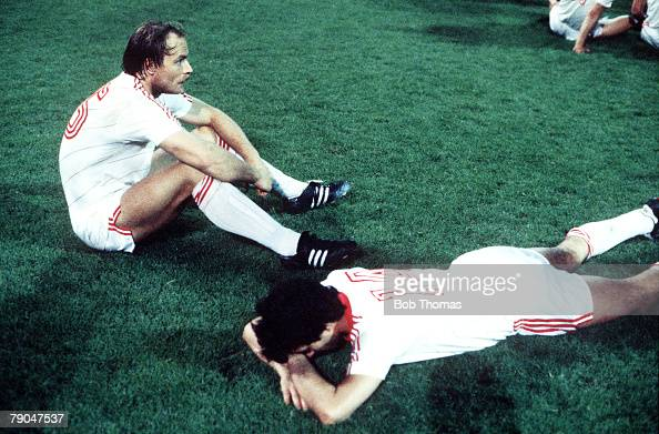Football UEFA Cup Final Second Leg Germany 18th May 1988 Bayer Leverkusen 3 v Espanol 0 Bayer Leverkusen's Klaus Tauber and teammate Herbert Wass...