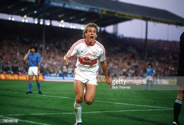 Football UEFA Cup Final Second Leg Naples Italy 17th May 1989 Napoli 2 v VfB Stuttgart 1 Stuttgart's Jurgen Klinsmann celebrates after scoring a goal