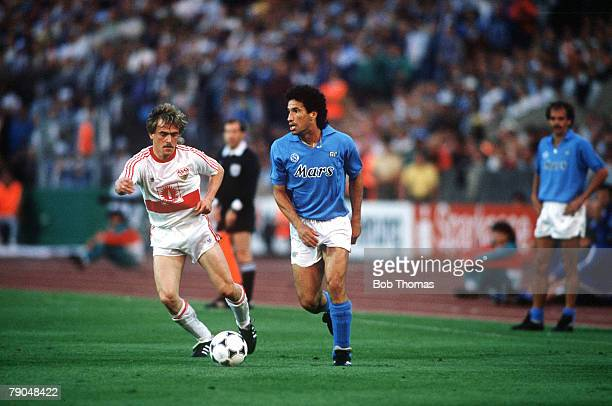 Football UEFA Cup Final Second Leg Naples Italy 17th May 1989 Napoli 2 v VfB Stuttgart 1 Napoli's Careca is watched by Stuttgart's Gunther Schafer